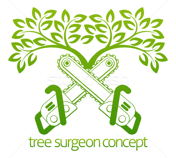 Tree Surgeon Cainsaws and Tree Design Stock photo © Krisdog