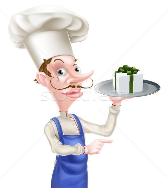 Ajándék szakács mutat illusztráció rajz tart Stock fotó © Krisdog
