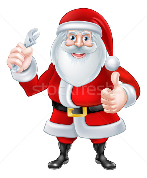 Cartoon Santa Holding a Spanner Stock photo © Krisdog