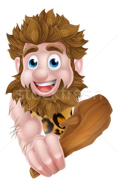Cartoon Caveman Peeking Around Sign Stock photo © Krisdog