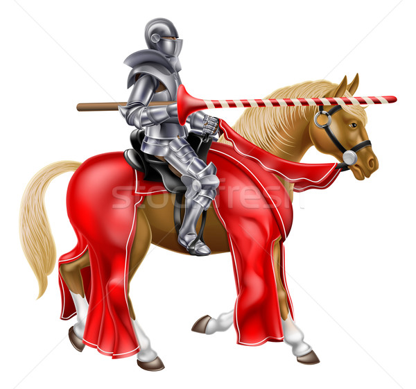 Medieval Lance Knight on Horse Stock photo © Krisdog