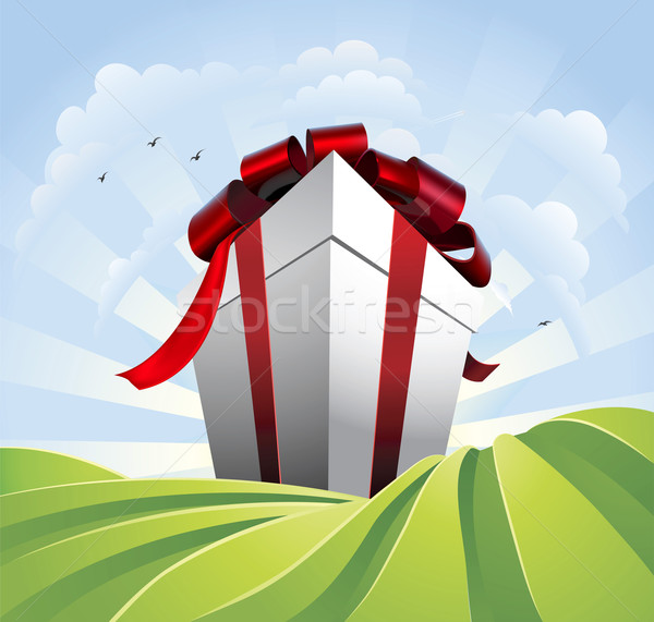 Stock photo: Giant gift in fields