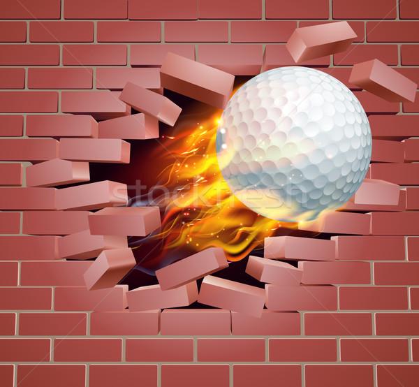 Yanan golf topu tuğla duvar örnek yanan yangın Stok fotoğraf © Krisdog
