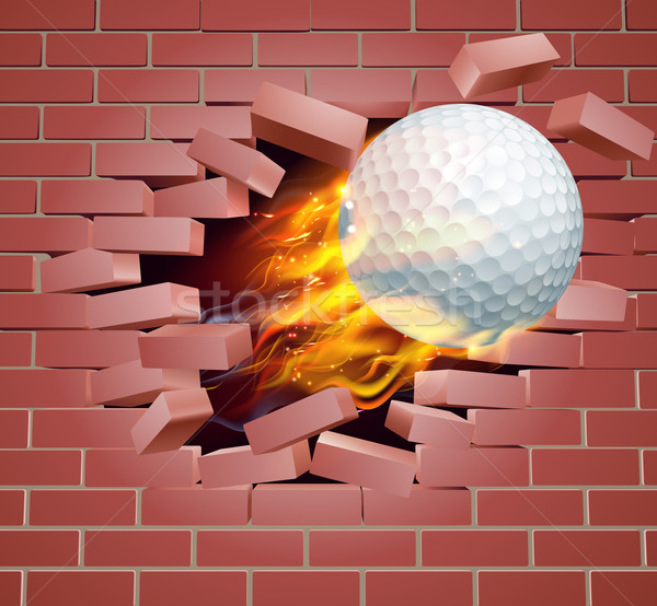 Flaming Golf Ball Breaking Through Brick Wall Stock photo © Krisdog
