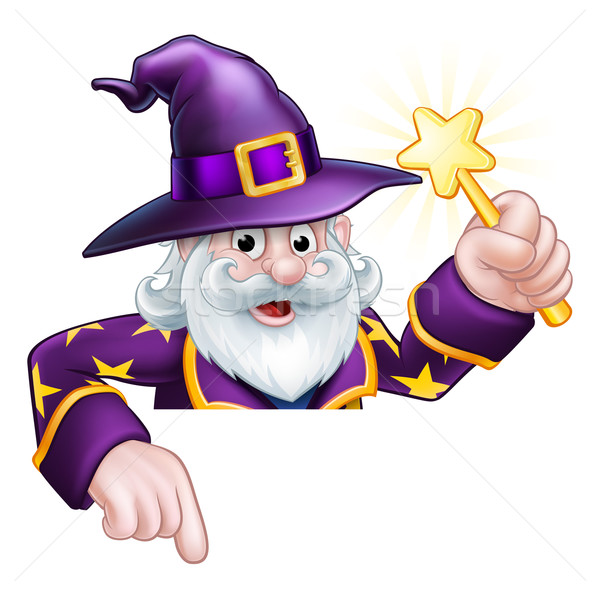 Cartoon Wizard Pointing Stock photo © Krisdog