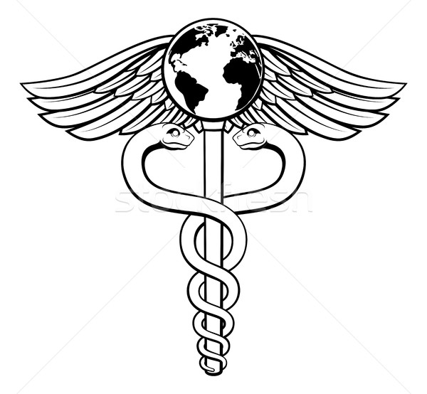Caduceus Globe Medical Symbol Stock photo © Krisdog