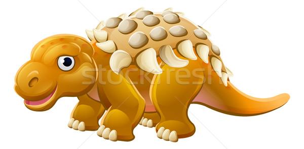 Cute Edmontonia Cartoon Dinosaur Stock photo © Krisdog