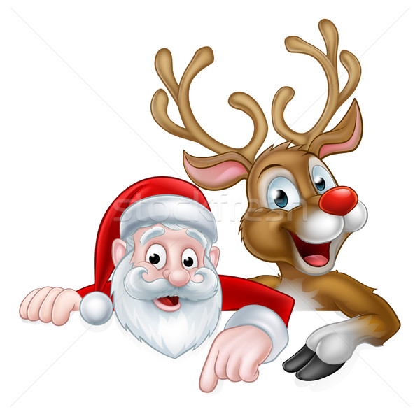 Cartoon Christmas Santa and Reindeer Stock photo © Krisdog