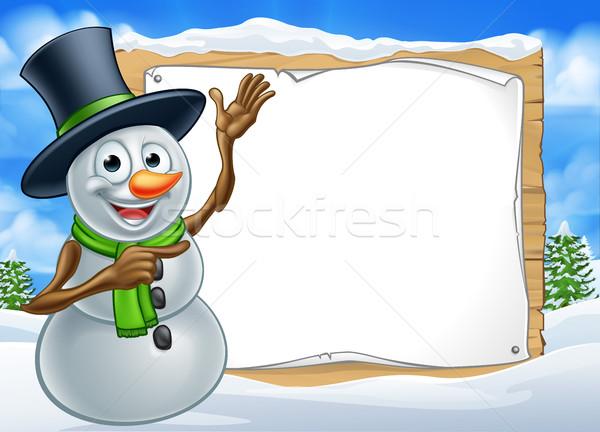 Snowman Cartoon Christmas Sign Stock photo © Krisdog