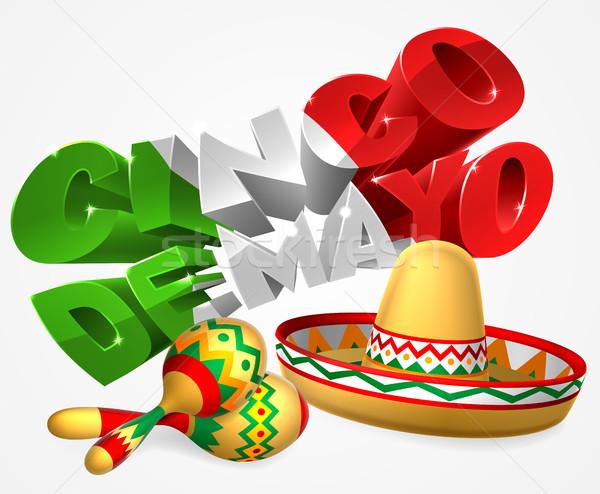 Cinco De Mayo Sign With Sombrero and Maracas Stock photo © Krisdog