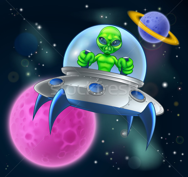 Straniero ufo battenti piattino spazio cartoon Foto d'archivio © Krisdog