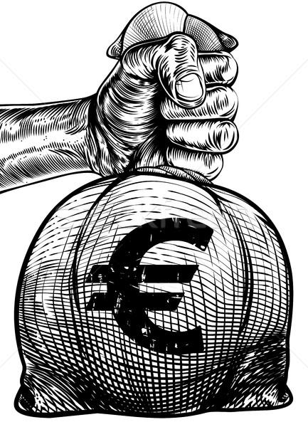 стороны евро знак брезент мешок Сток-фото © Krisdog