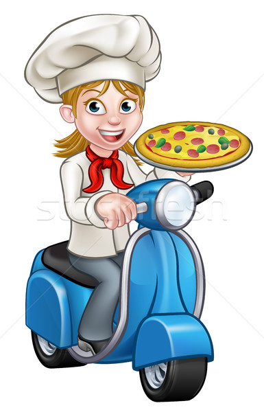 Cartoon femme pizza chef Cook Photo stock © Krisdog