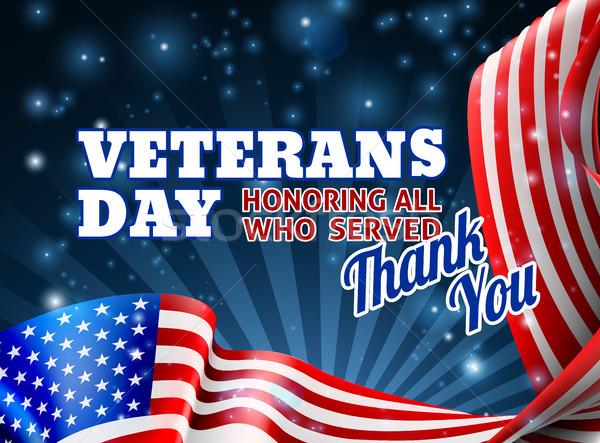 Nap amerikai zászló terv keret köszönjük üzenet Stock fotó © Krisdog
