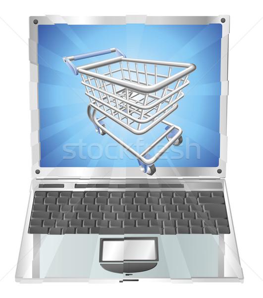 インターネットショッピング ノートパソコン 実例 ショッピングカート 飛行 外に ストックフォト © Krisdog