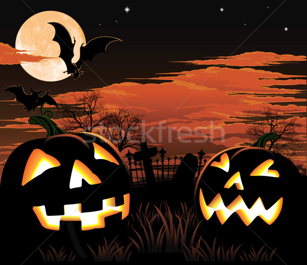 Halloween graveyard background Stock photo © Krisdog