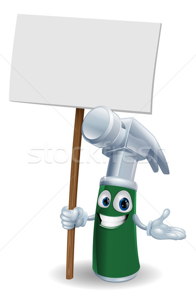 Hammer mascot holding sign Stock photo © Krisdog