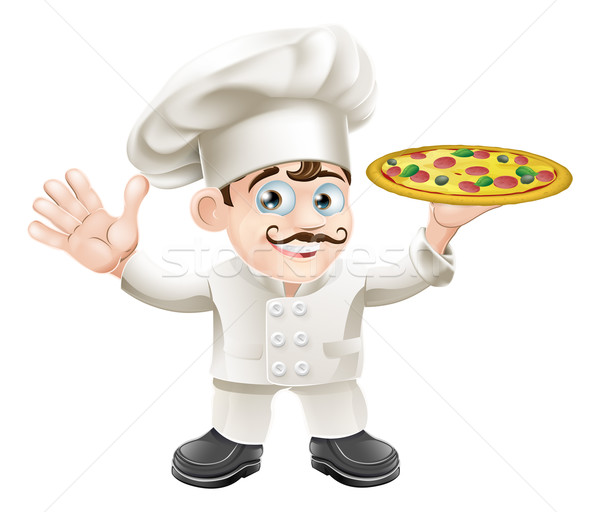 İtalyan pizza şef karikatür mutlu Stok fotoğraf © Krisdog