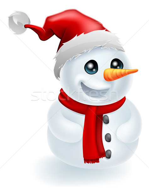 Santa Hat Christmas Snowman Stock photo © Krisdog