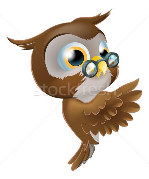 Pointing Cute Owl Stock photo © Krisdog
