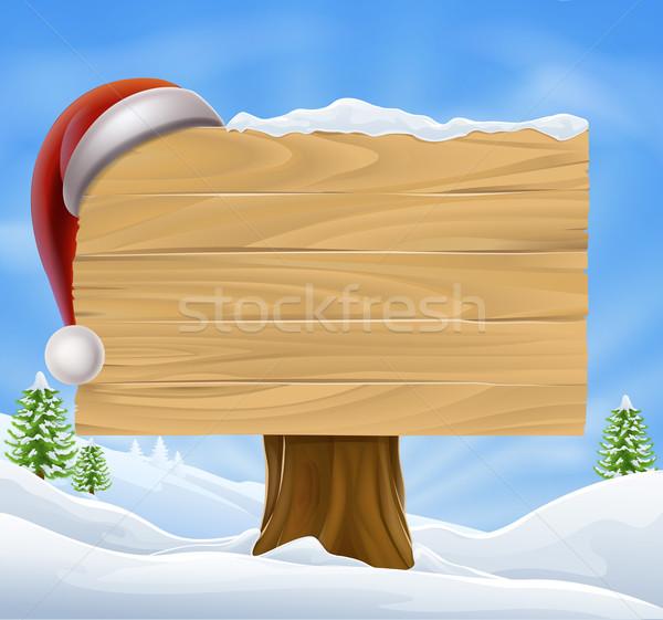 Snow Landscape Christmas Santa Hat Sign Stock photo © Krisdog
