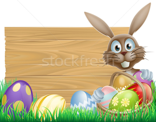 Happy Easter bunny and wooden sign Stock photo © Krisdog
