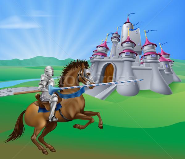 Knight and castle Stock photo © Krisdog