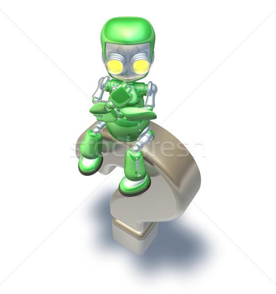 Stok fotoğraf: Karışık · soru · işareti · sevimli · yeşil · Metal · robot