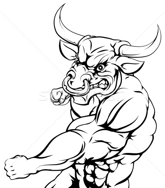 Mean looking bull punching Stock photo © Krisdog