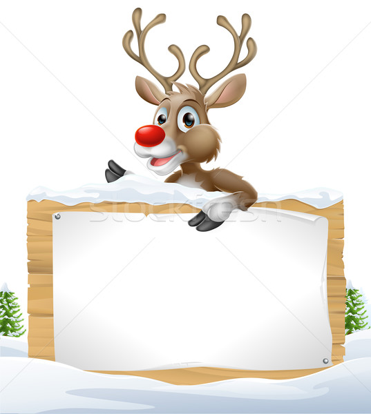 Reindeer Snowy Christmas Sign Stock photo © Krisdog