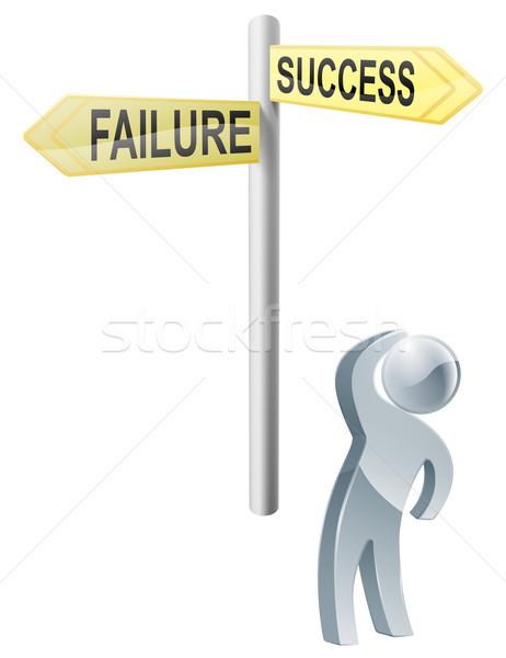 Erfolg Ausfall Wahl Illustration Mann nachschlagen Stock foto © Krisdog