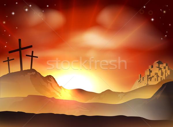Stock fotó: Kereszt · drámai · keresztény · húsvét · Jézus · kettő