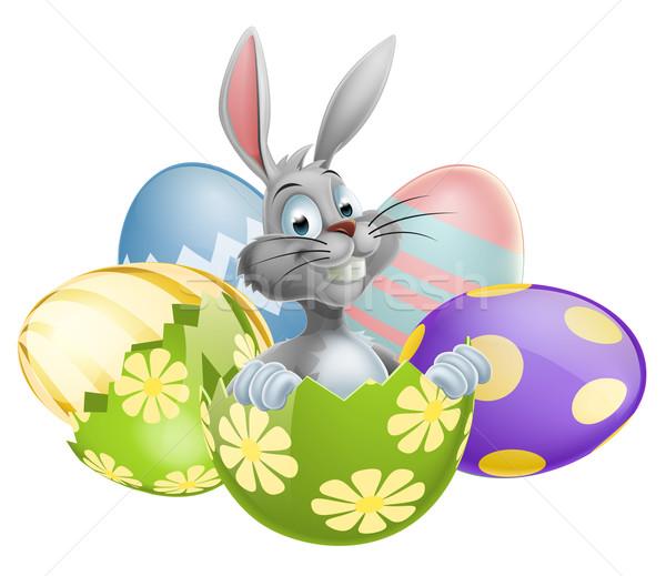 Photo stock: Blanche · lapin · de · Pâques · oeuf · illustration · heureux · cute