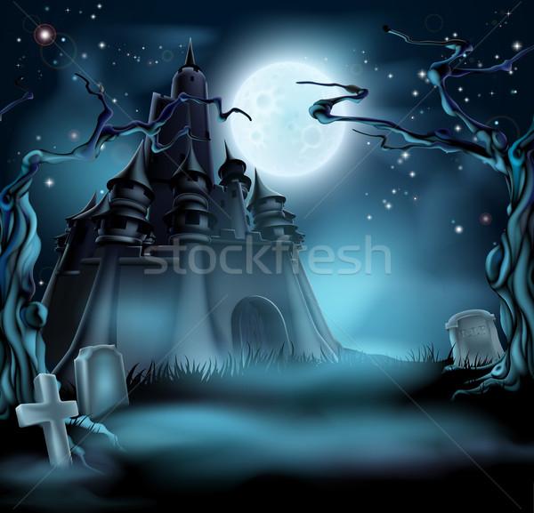 Halloween zamek grobu nawiedzony drzew Zdjęcia stock © Krisdog