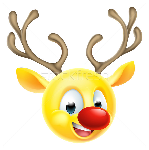 Stock photo: Christmas Reindeer Emoticon Emoji