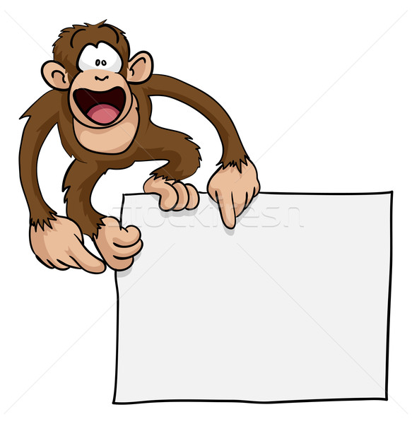 Stock photo: Crazy cute monkey sign illustration