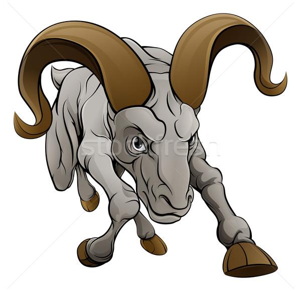 Baran sportowe maskotka twardy patrząc owiec Zdjęcia stock © Krisdog