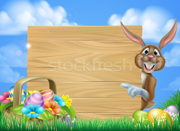 Cartoon Easter Bunny Sign Stock photo © Krisdog