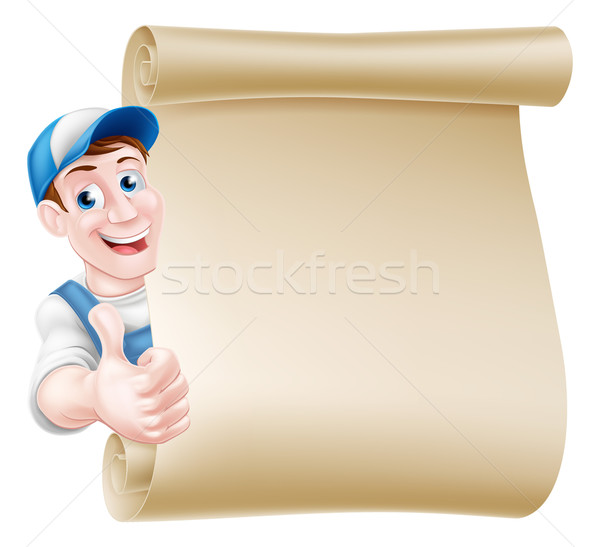 Thumbs up tradesman scroll Stock photo © Krisdog