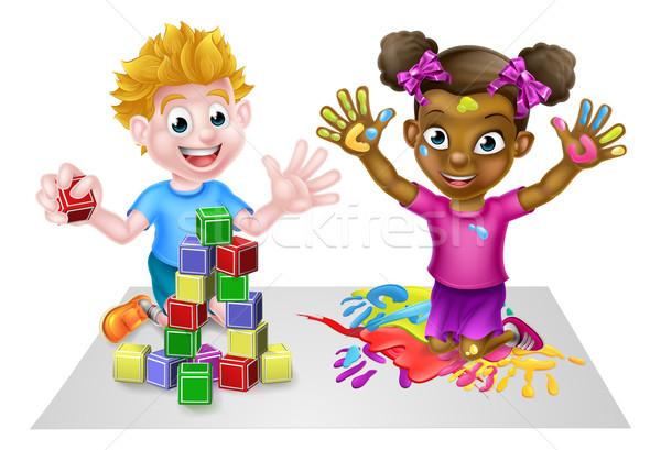 Cartoon Kids Having Fun Stock photo © Krisdog