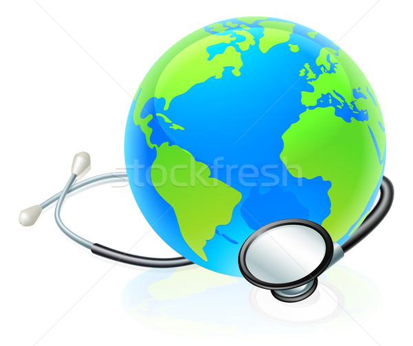 Earth World Globe Stethoscope Health Concept Stock photo © Krisdog