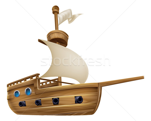 Cartoon Sailing Ship Stock photo © Krisdog