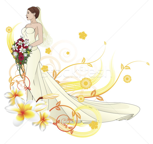 Bride beautiful wedding dress  floral background Stock photo © Krisdog