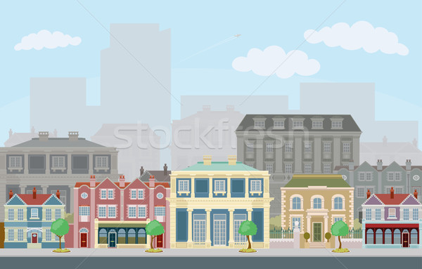 Urban street scene with smart townhouses Stock photo © Krisdog