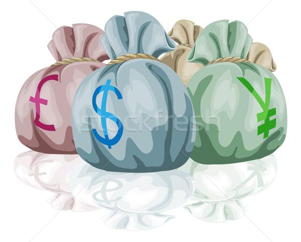 Pénz táska pénznemek különböző világ font Stock fotó © Krisdog