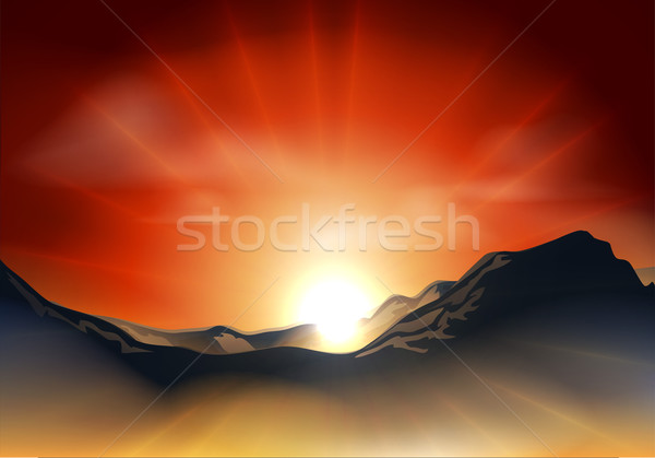 Sunrise or sunset over a mountain range Stock photo © Krisdog