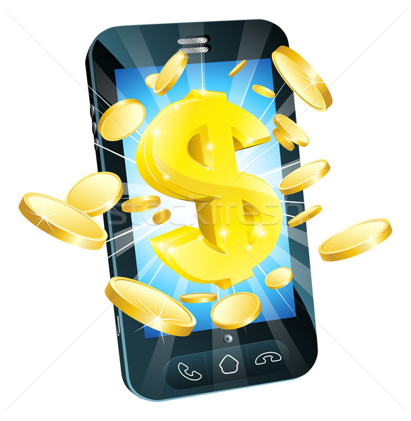 Dollar Geld Telefon Illustration mobile Handy Stock foto © Krisdog