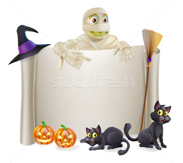 Halloween Mummy Scroll Sign Stock photo © Krisdog