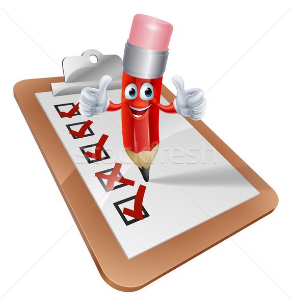 Cartoon Pencil Man and Survey Clipboard Stock photo © Krisdog