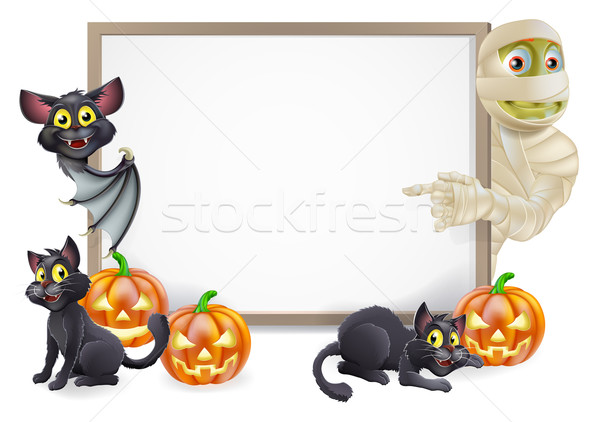 Halloween Sign with Mummy and Bat Stock photo © Krisdog